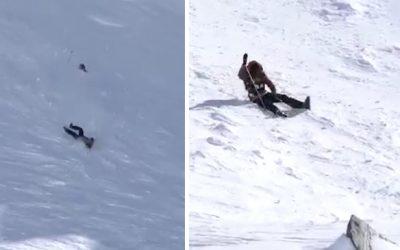 Skiester maakt lelijke val, maar blijft wonder boven wonder ongedeerd